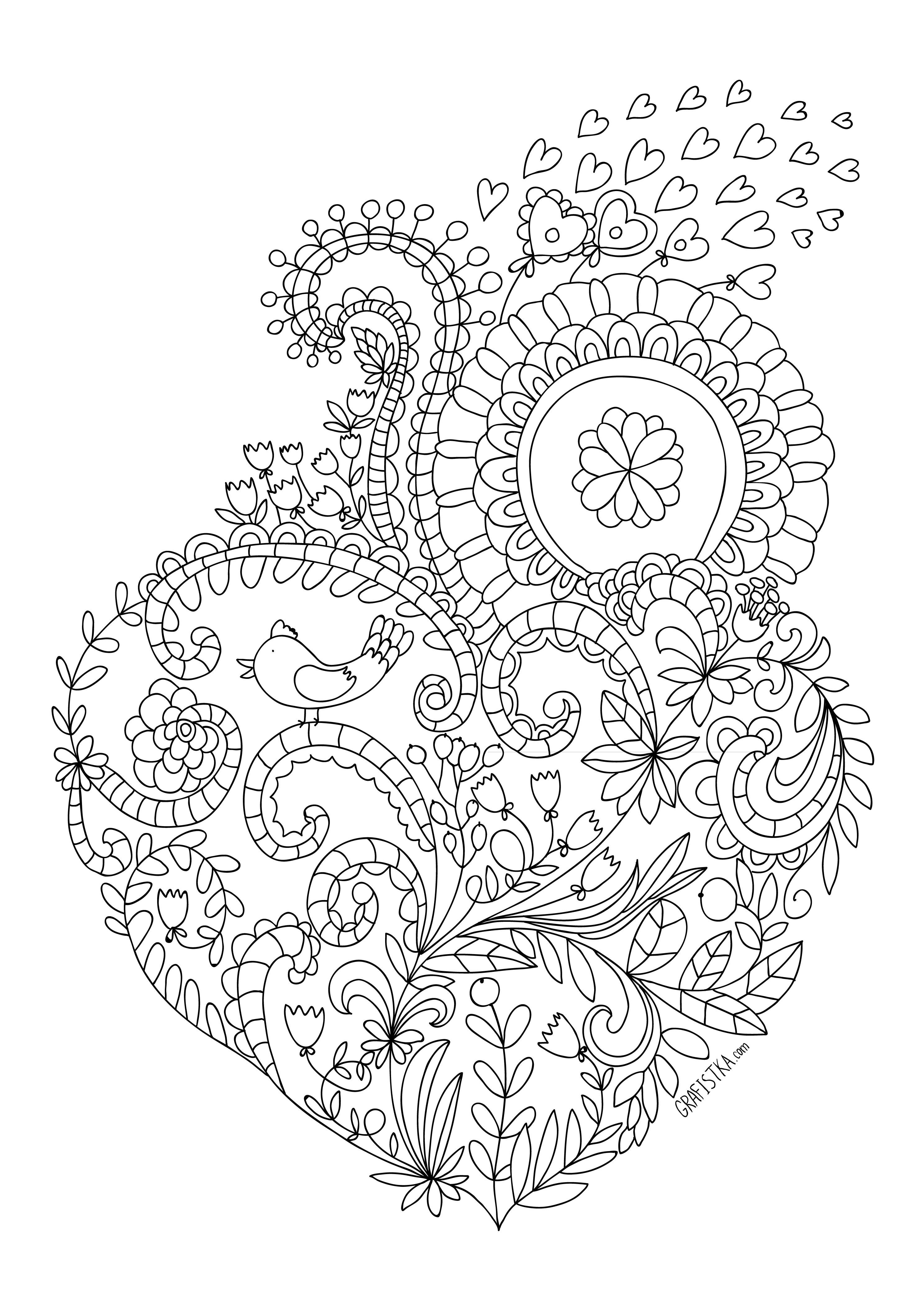 Птица Раскраски антистресс  сердце из цветов Для детей онлайн раскраски с цветамираскраски цветы