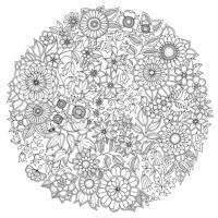 Раскраски антистресс цветы в круге Раскраски с цветами распечатать бесплатно