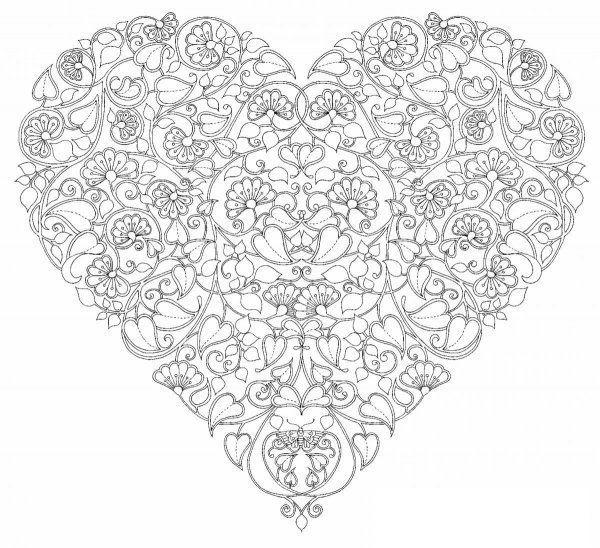 Узор Раскраски антистресс, цветочное сердце раскраски цветы