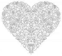 Раскраски антистресс, цветочное сердце Раскраски с цветами распечатать бесплатно