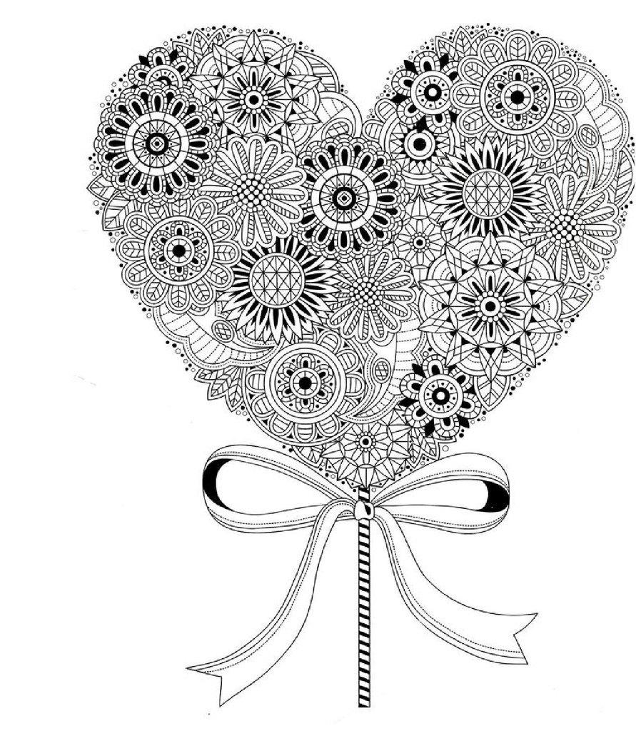 Раскраски антистресс, сердце на палочке с ленточкой Раскраски цветы хорошего качества