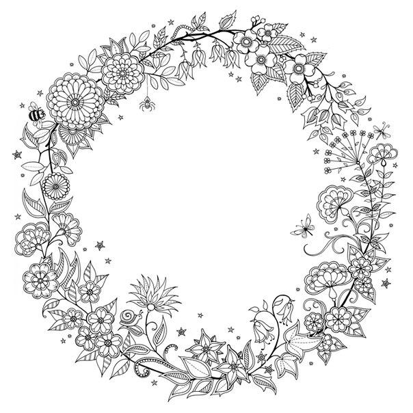 Раскраски антистресс, цветочный венок Раскраски цветы хорошего качества