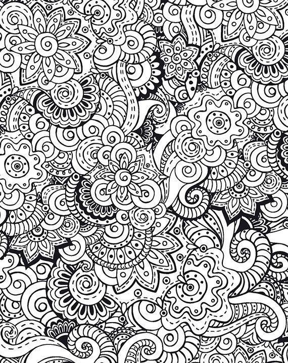 Раскраски антистресс, богатый цветочный узор Раскраски цветы хорошего качества