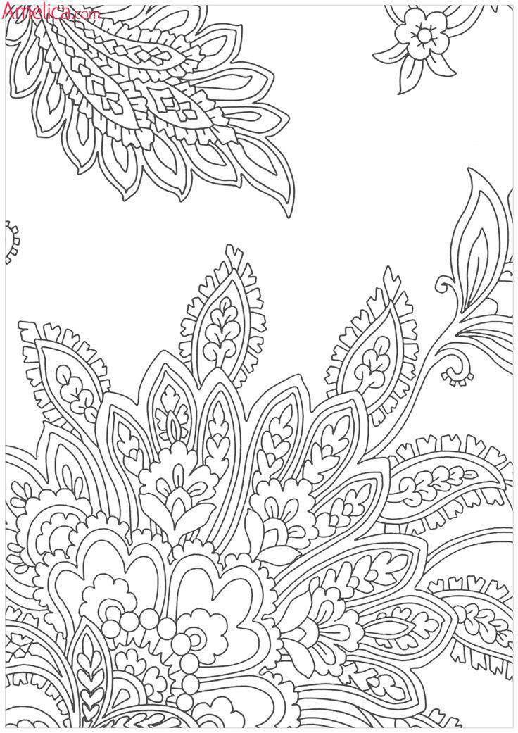Раскраски антистресс цветы павлиний хвост Раскраски с цветами распечатать бесплатно