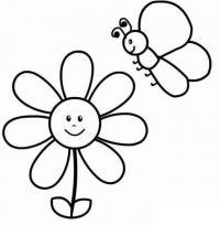Для малышей цветок с улыбкой Фото раскраски цветы