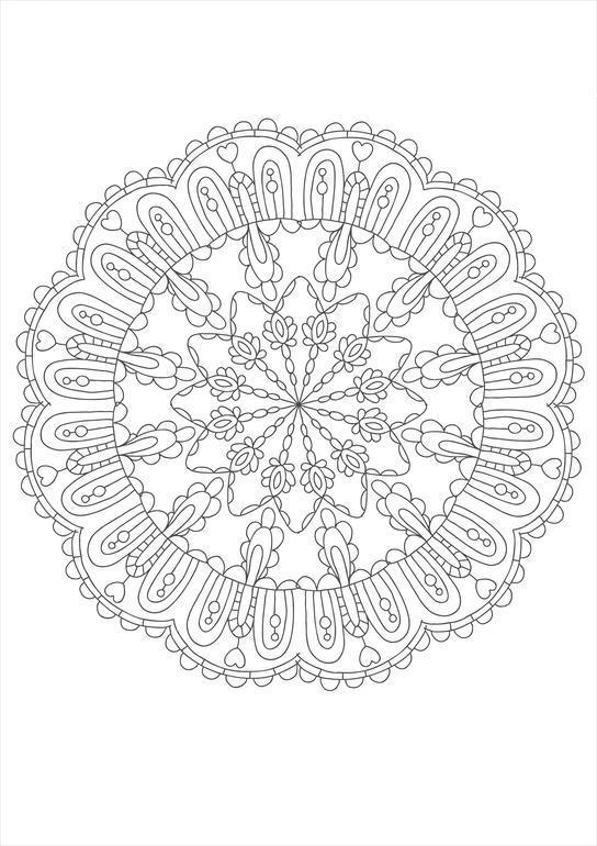 Кружевные цветы в круге Разукрашки цветы