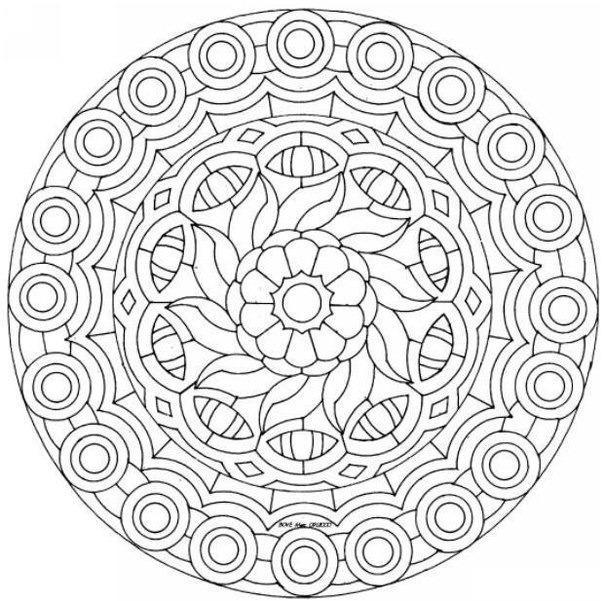 Орнамент цветы в круге Разукрашки цветы
