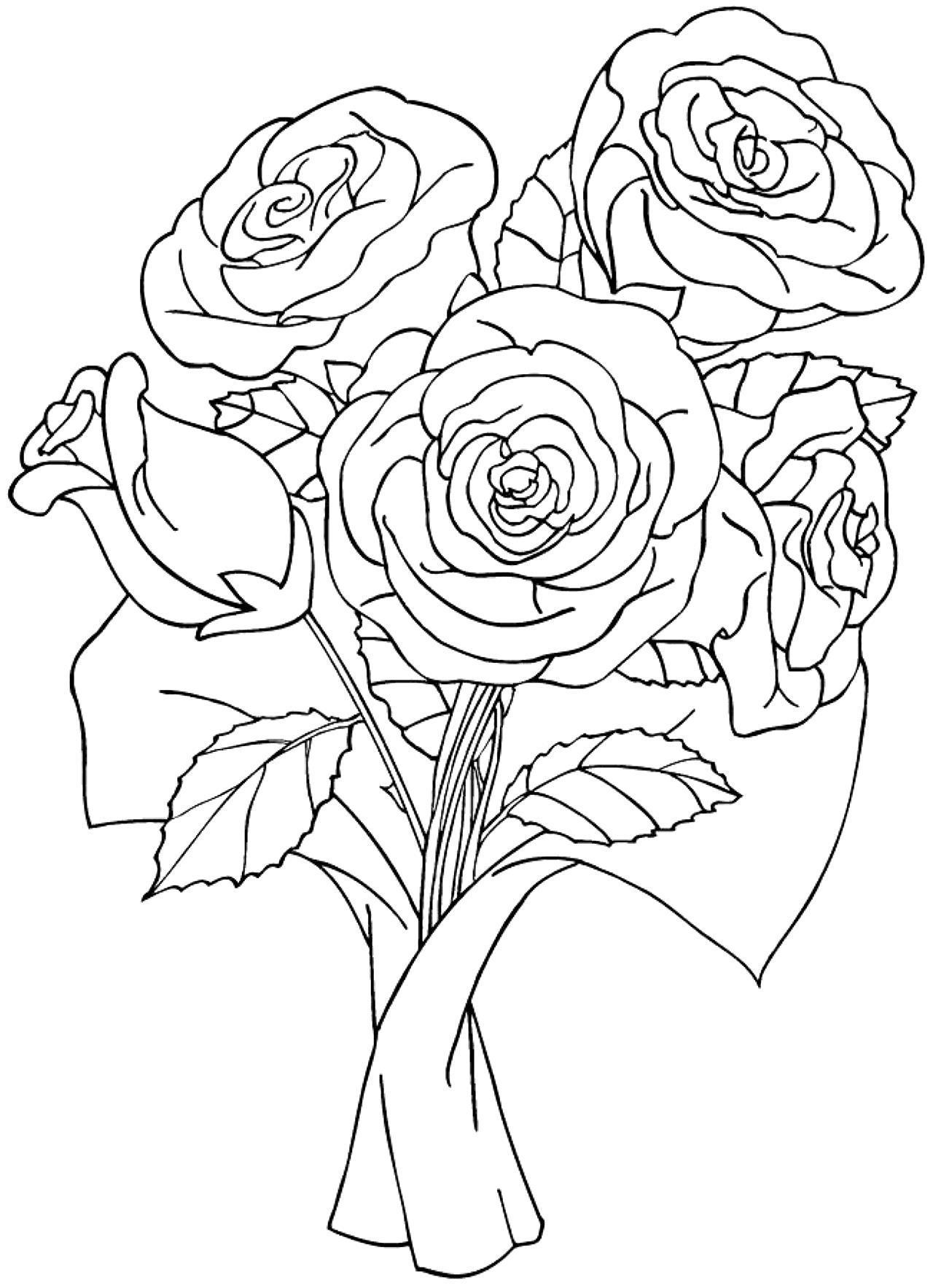 Раскраски с букетами роз
