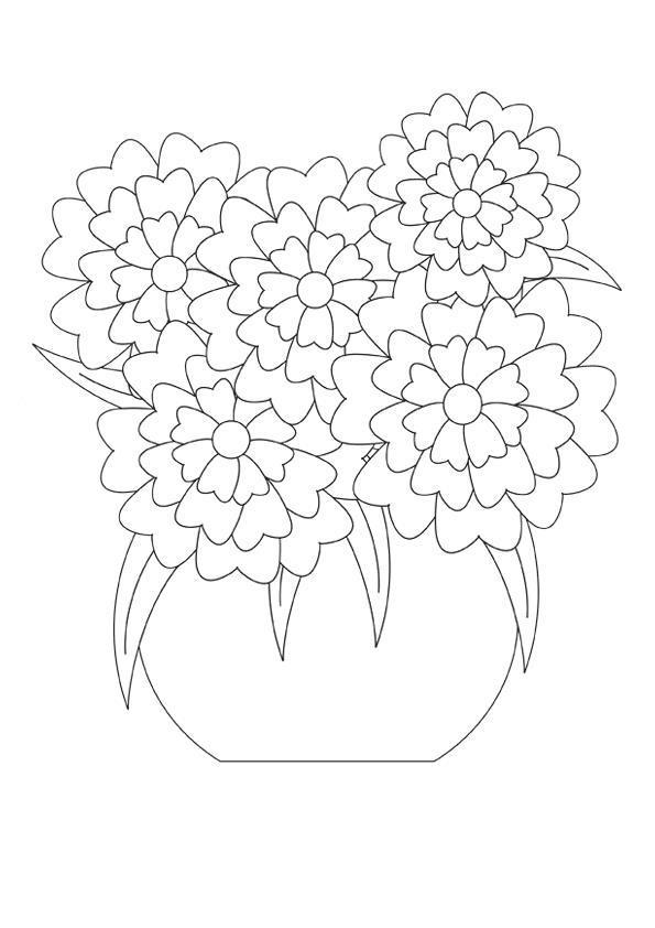Букет цветов для мамы Раскраски с цветами распечатать бесплатно