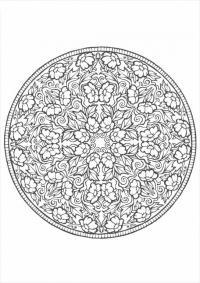 Цветочный узор в круге Разукрашки цветы