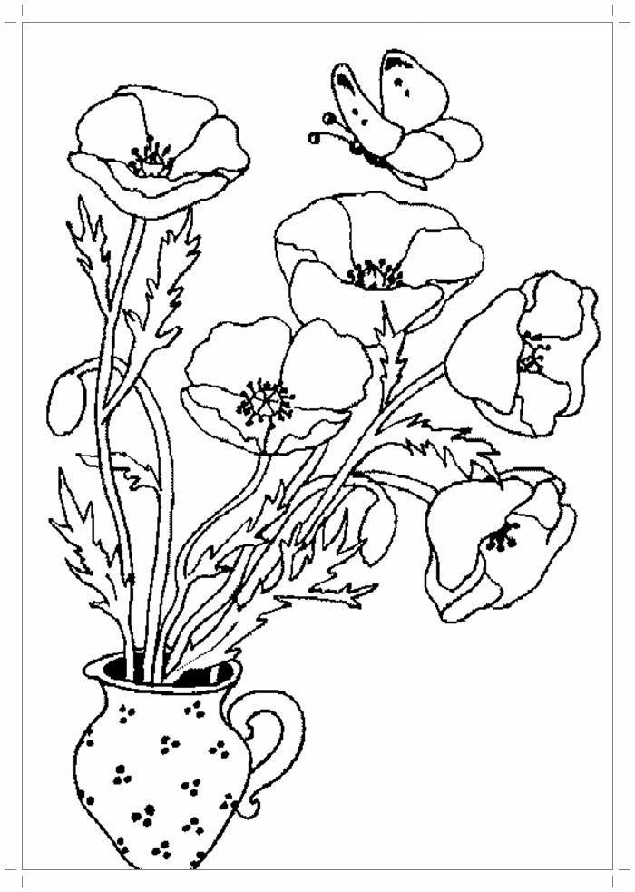 Маки в кувшине Распечатываем раскраски цветы бесплатно