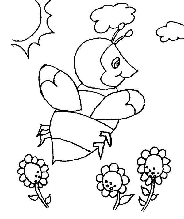 Пчелка над поле цветов Новые раскраски с цветами
