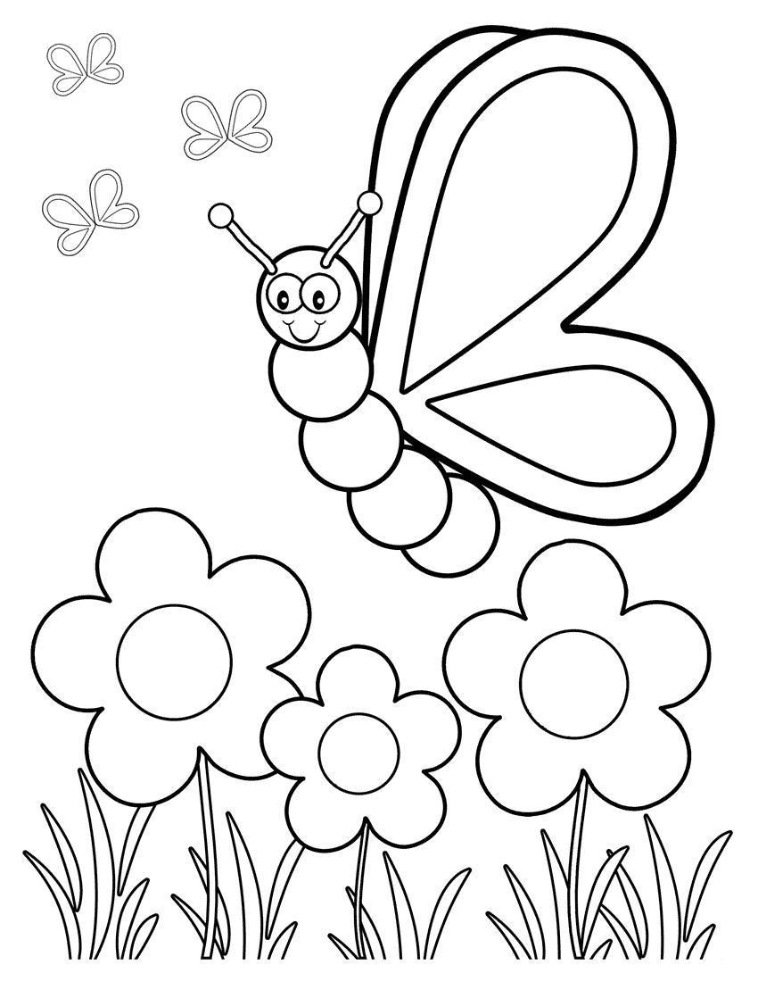 Бабочка над полем цветов Скачать новые раскраски цветы