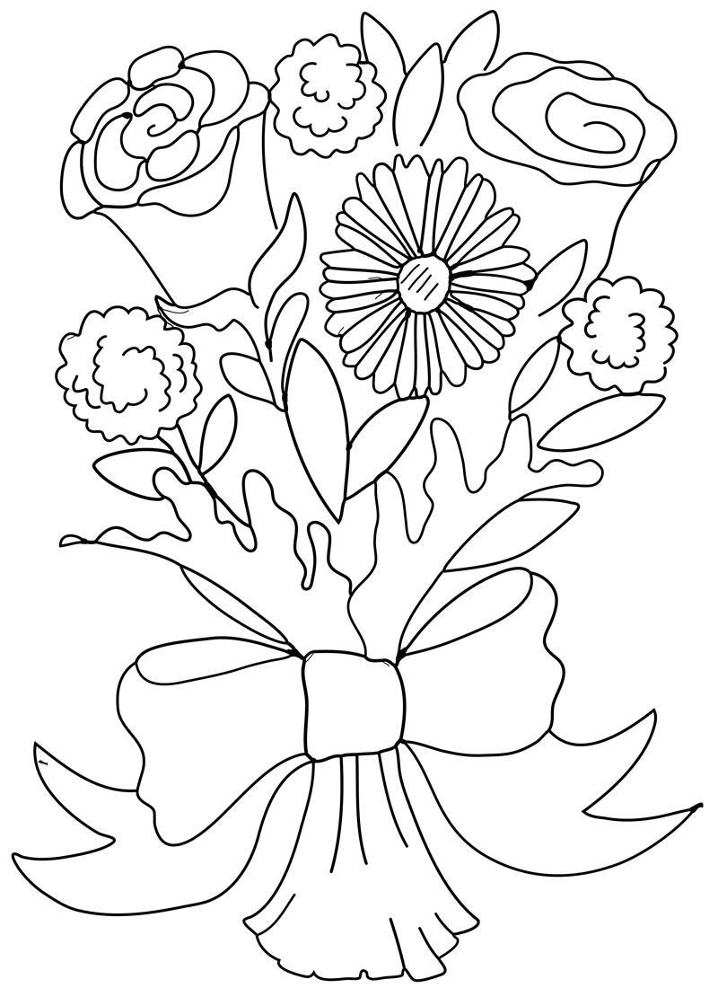 Красивый букетик с бантом Раскраски с цветами распечатать бесплатно