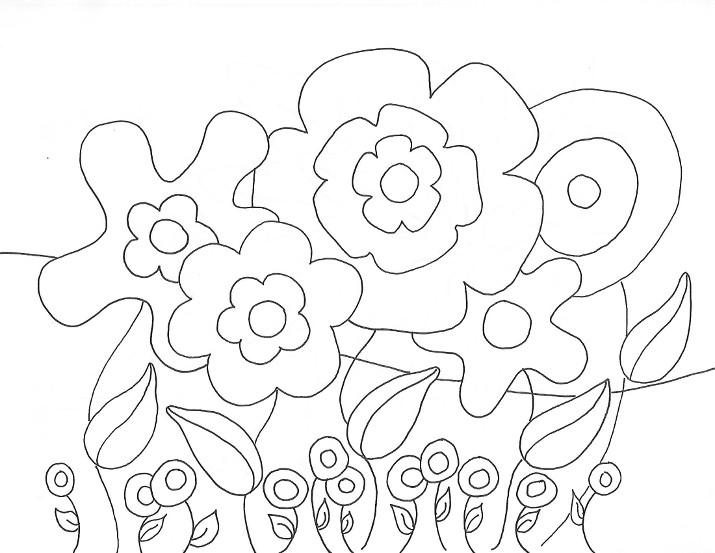 Поле огромных  цветов Раскраски детские с цветами