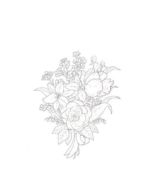 Букет роз и лилий Раскраски с цветами распечатать бесплатно