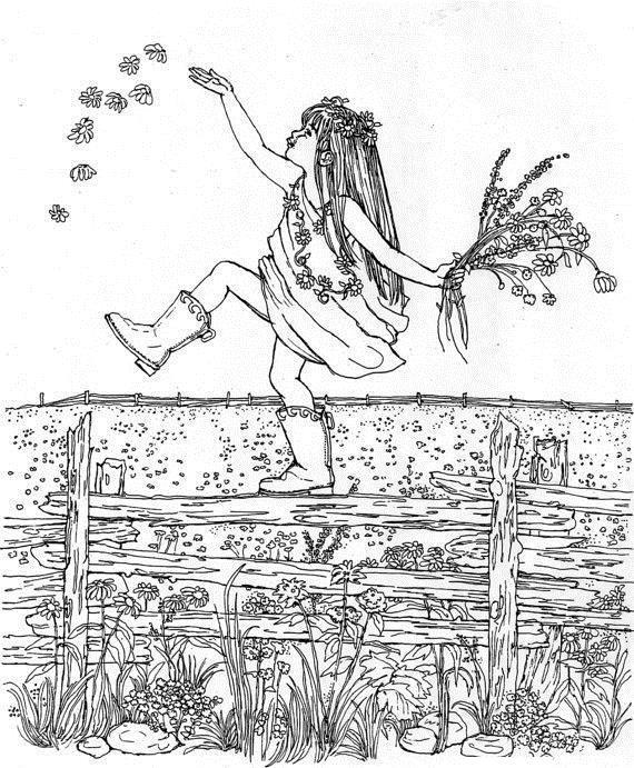 Девочка на поле цветов Раскраски с цветами распечатать бесплатно