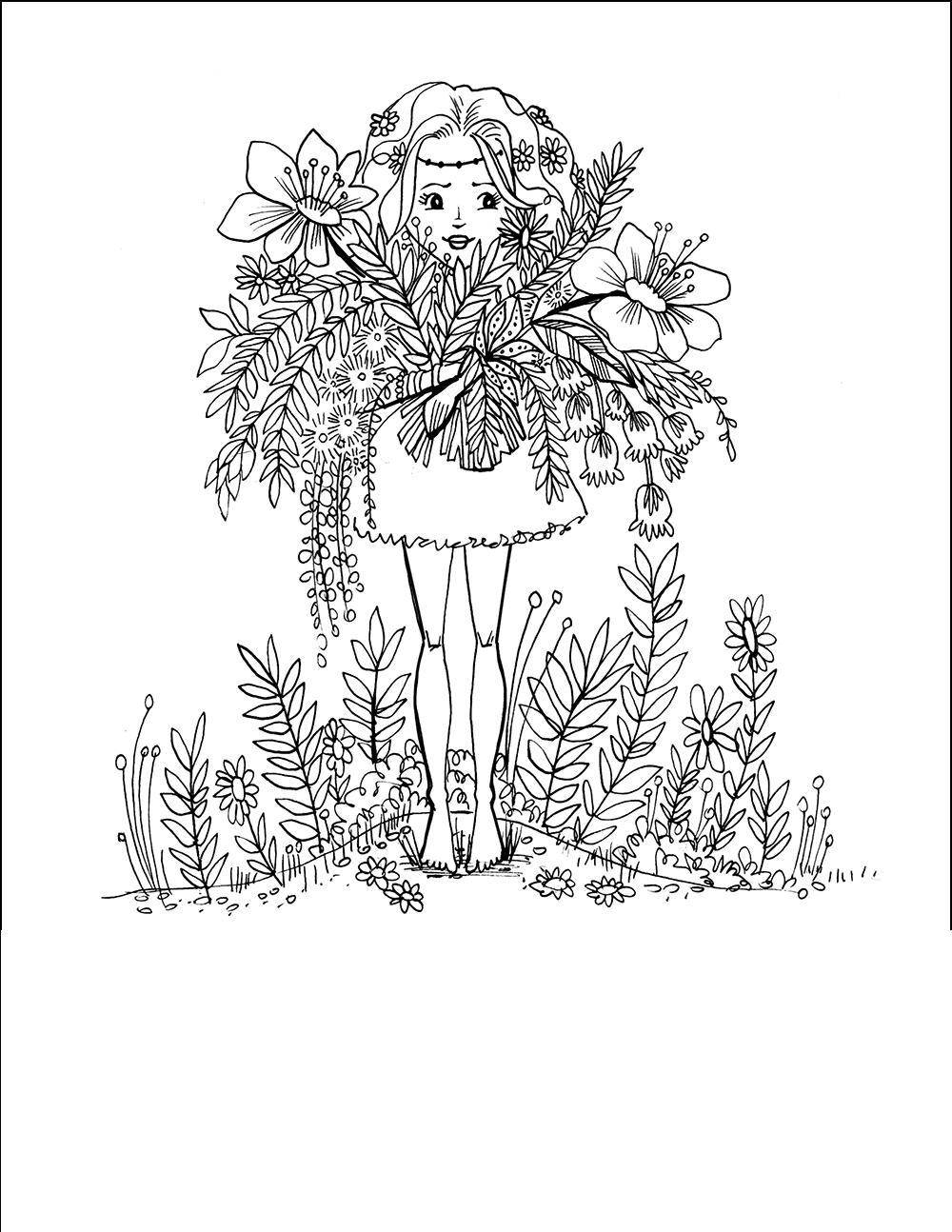 Девочка с букетом полевых цветов Раскраски с цветами распечатать бесплатно
