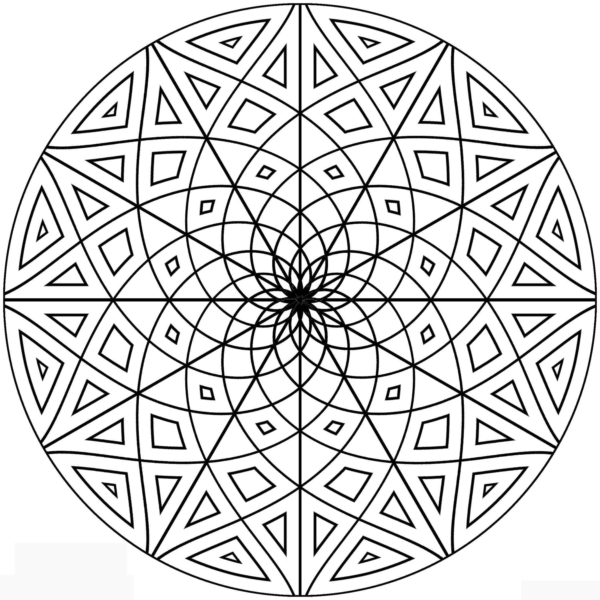 Узор круглой формы с цветком Раскраски с цветами распечатать бесплатно
