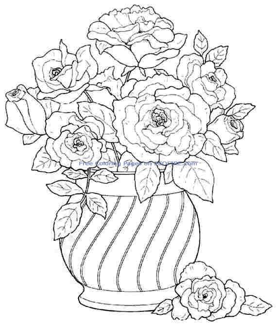 Красивейший букет из роз в вазе Раскраски с цветами распечатать бесплатно