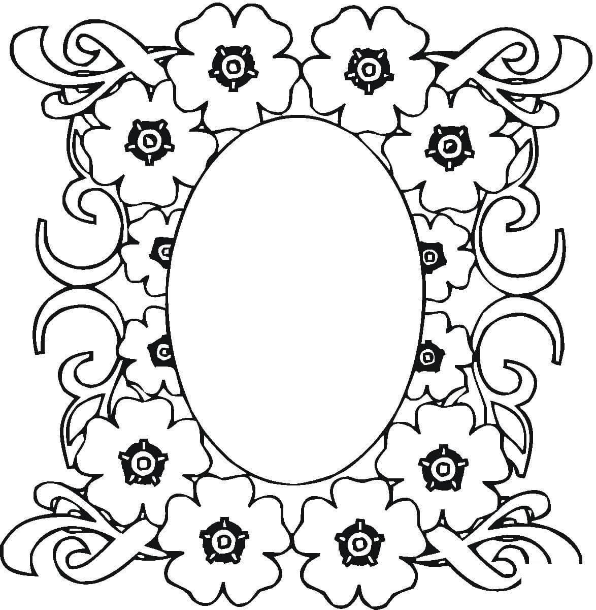 Овальная рамка из пятилепестковых цветов Детские цветы распечатать