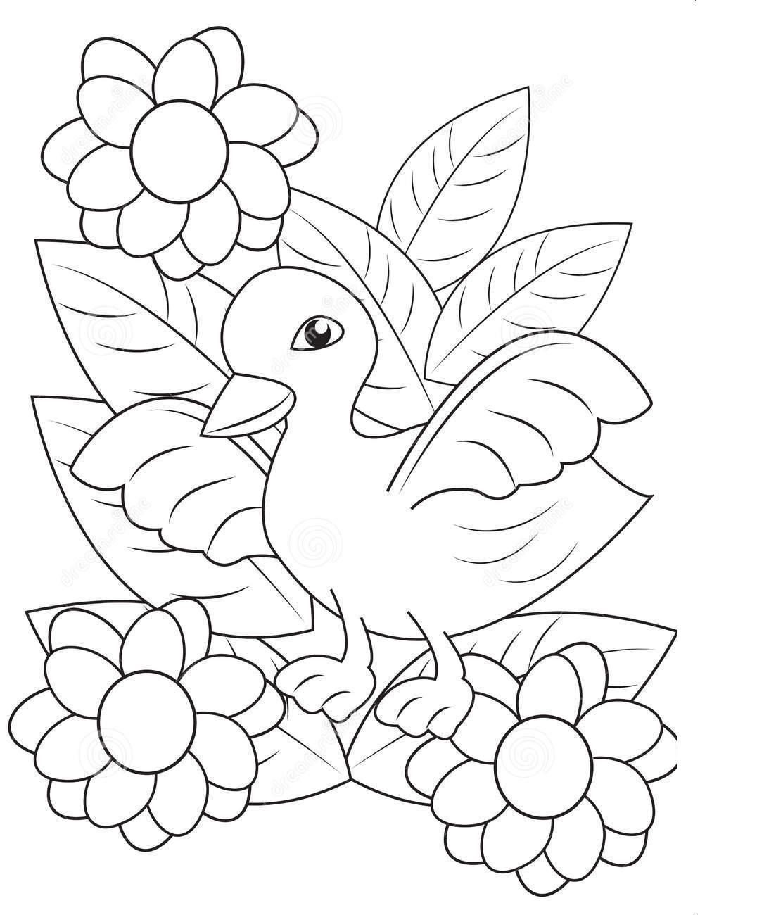 Утенок на поле цветов Раскраски цветочки для детей бесплатно