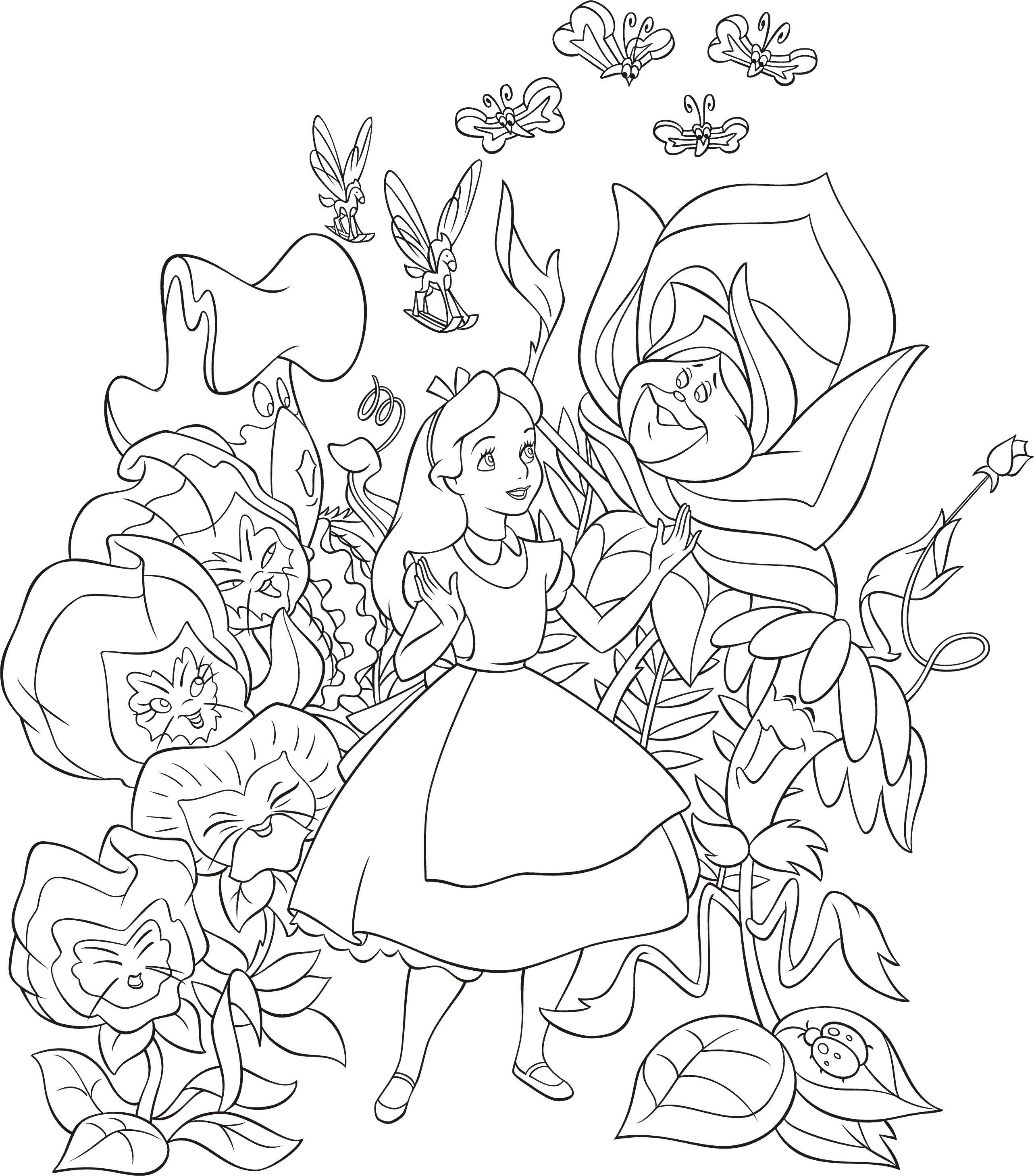 Девочка Девочка в мире волшебных цветов раскраски цветы