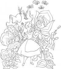 Девочка в мире волшебных цветов Раскраски с цветами распечатать бесплатно