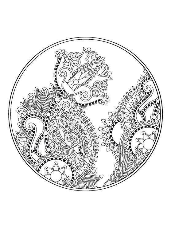 Волшебные цветы в круге Разукрашки цветы