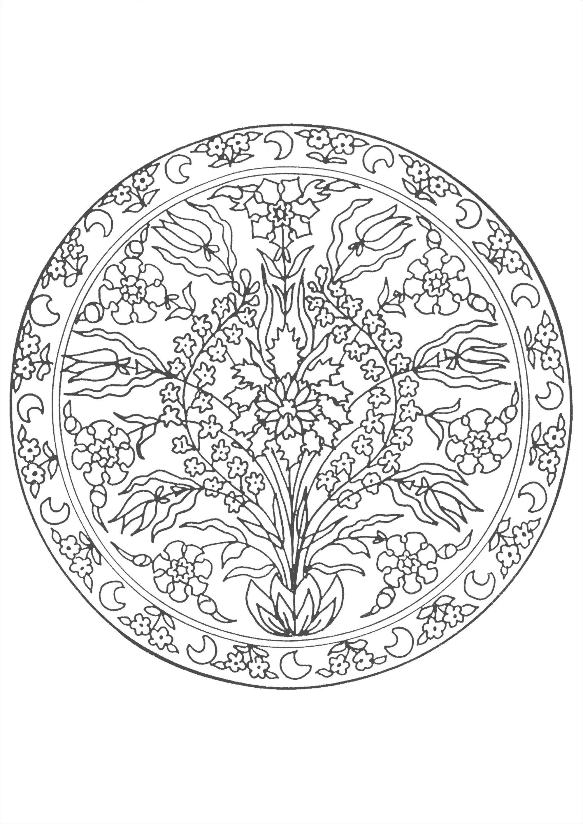 Волшебные цветы в орнаменте из круга цветы раскраски онлайн бесплатно