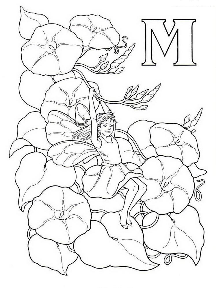 Вьюнок с феей Раскраски с цветами распечатать бесплатно