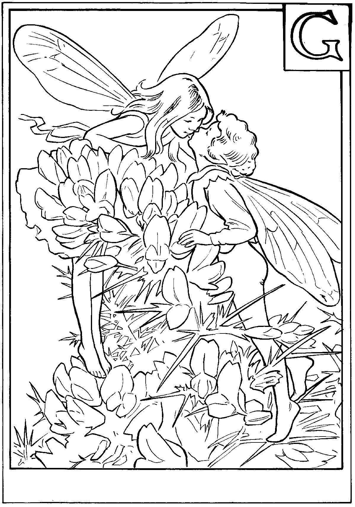 Феи в цветах Раскраска цветок для скачивания