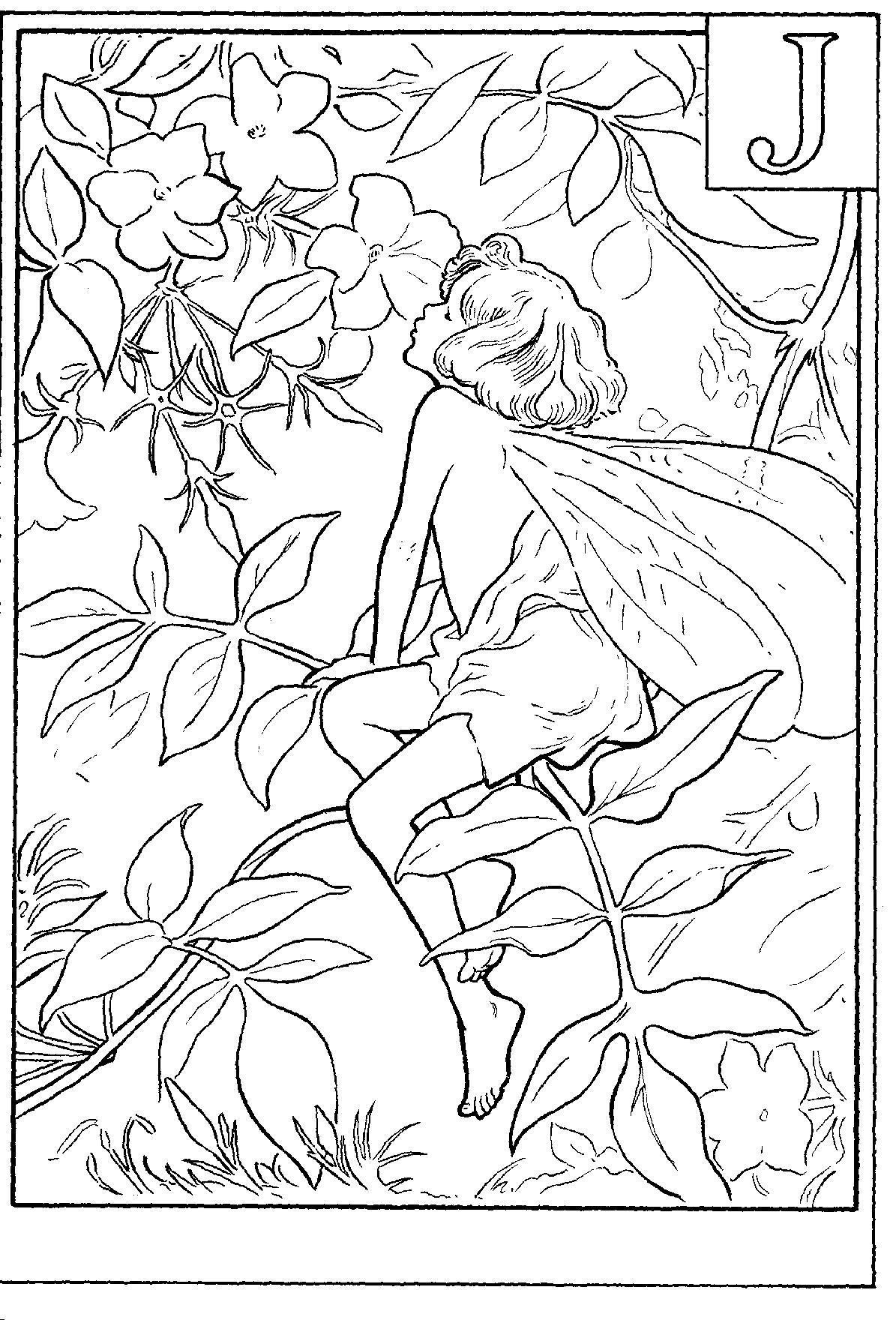 Жасмин и фея Раскраски с цветами распечатать бесплатно