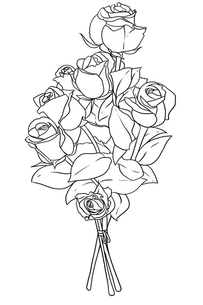 Букет из множества роз Раскраски с цветами распечатать бесплатно