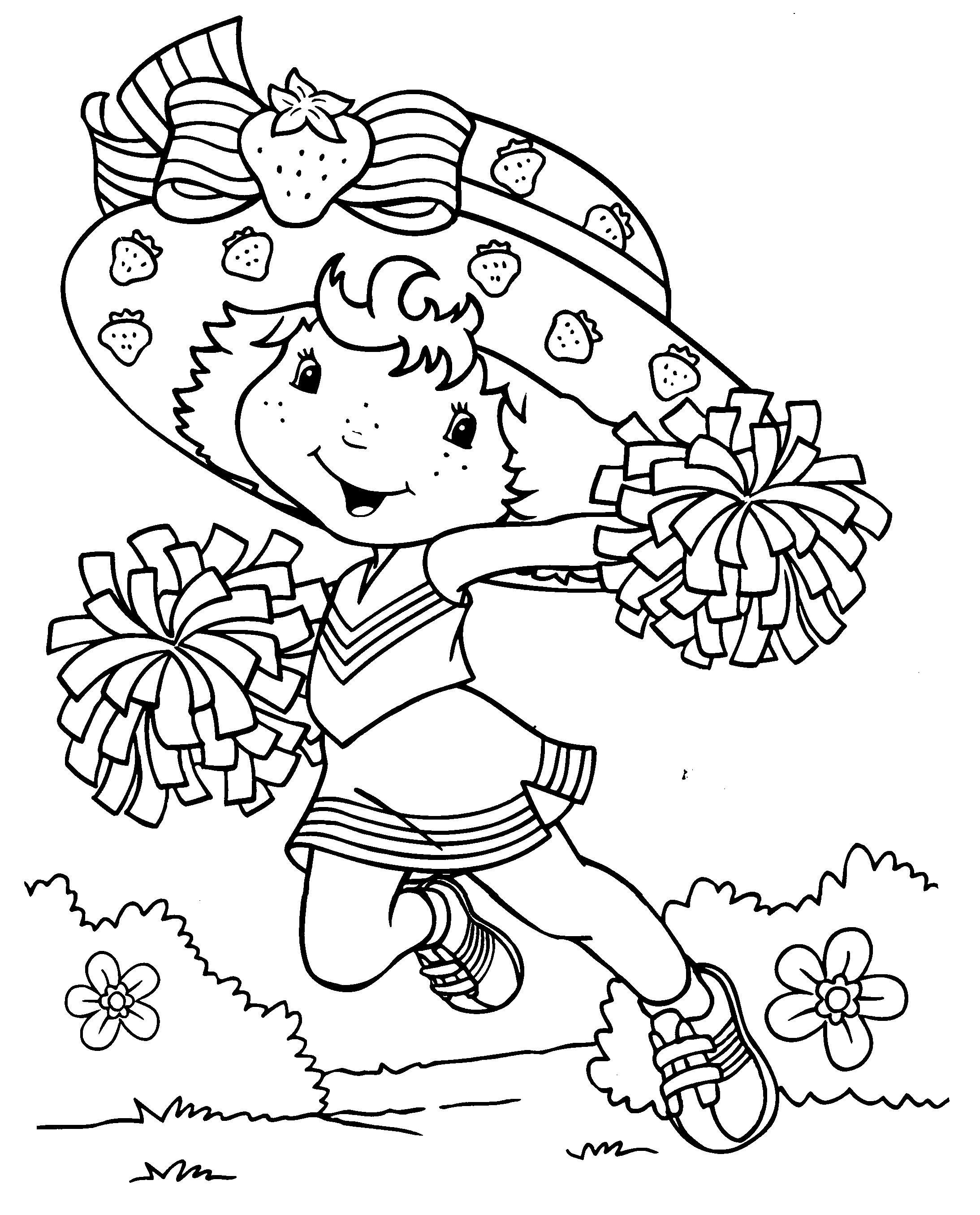 Девочка с цветами и клубниками Раскраски с цветами распечатать бесплатно