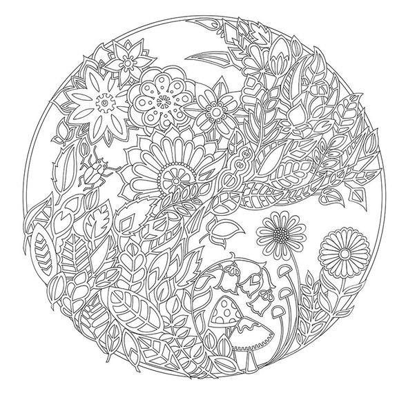 Цветы в круге Раскраски с цветами распечатать бесплатно