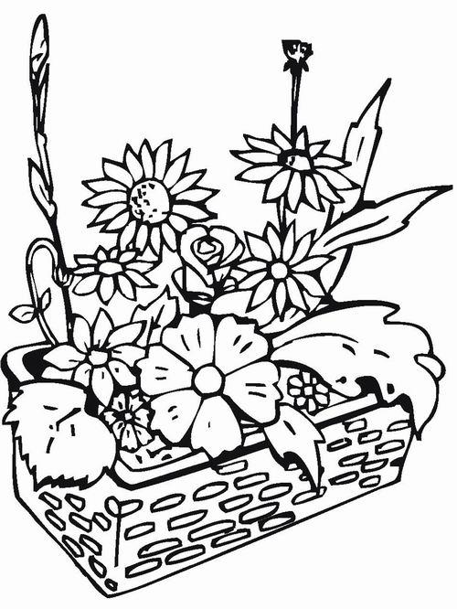 Цветы в плетеной корзинке Красивые раскраски цветов
