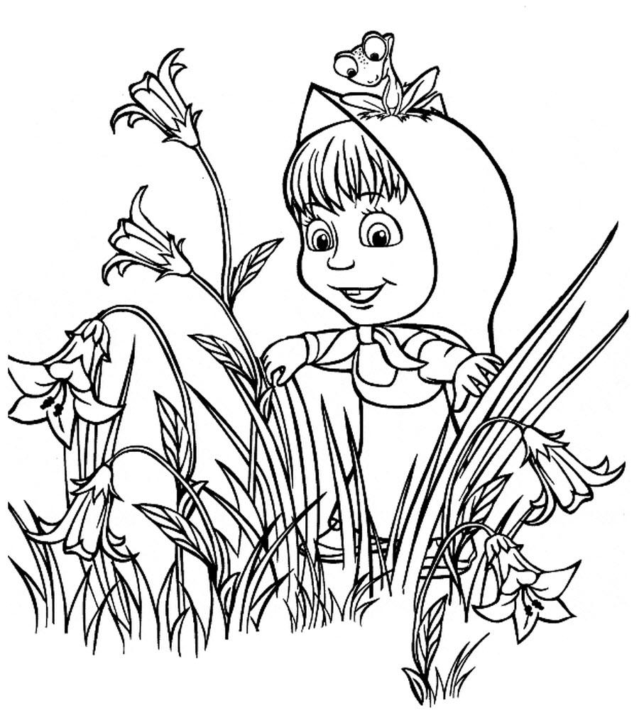 Клумба колокольчиков, маша, лягушка Красивые раскраски цветов