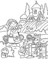 Девочка поливает клумбу с цветами Раскраски с цветами распечатать бесплатно