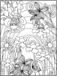 Клумба с очень красивыми цветами Раскраски с цветами распечатать бесплатно