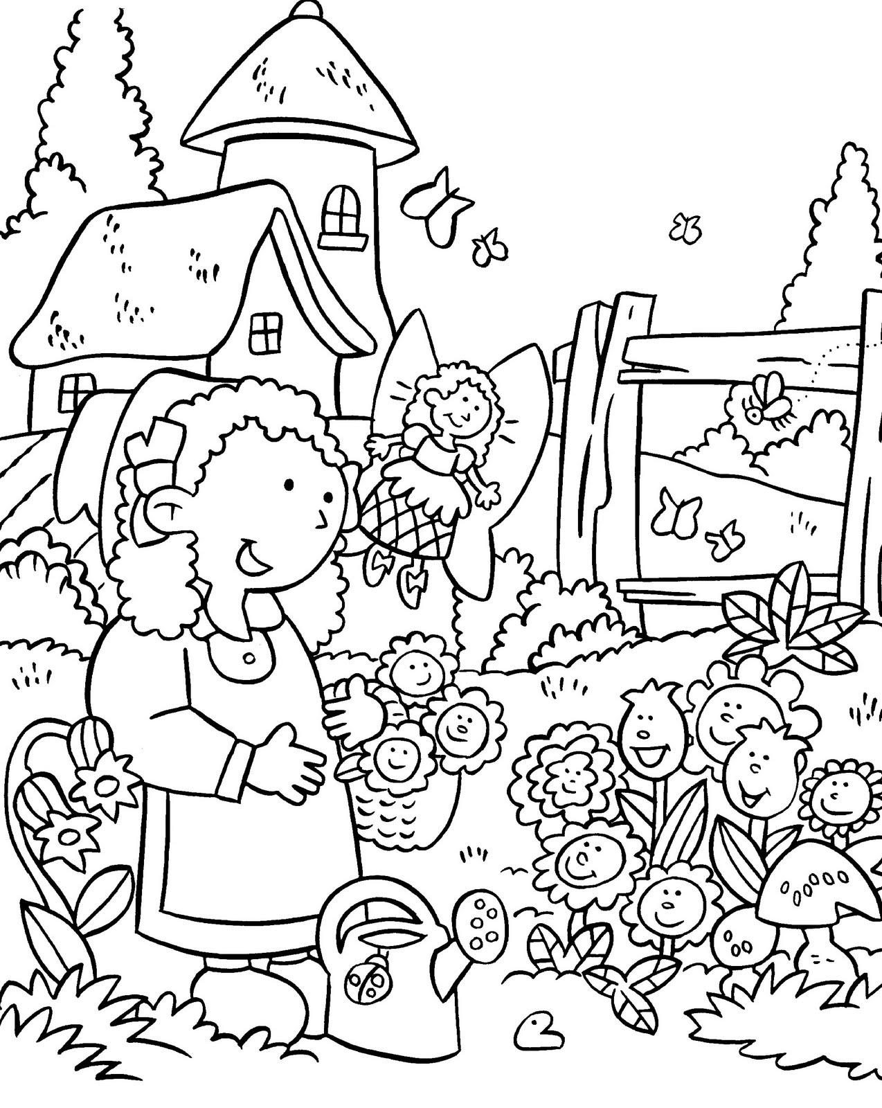 Девочка Девочка с фей у клумбы с цветами Распечатываем раскраски цветы бесплатнораскраски цветы