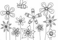 Пчелка над клумбой с цветами Красивые раскраски цветов