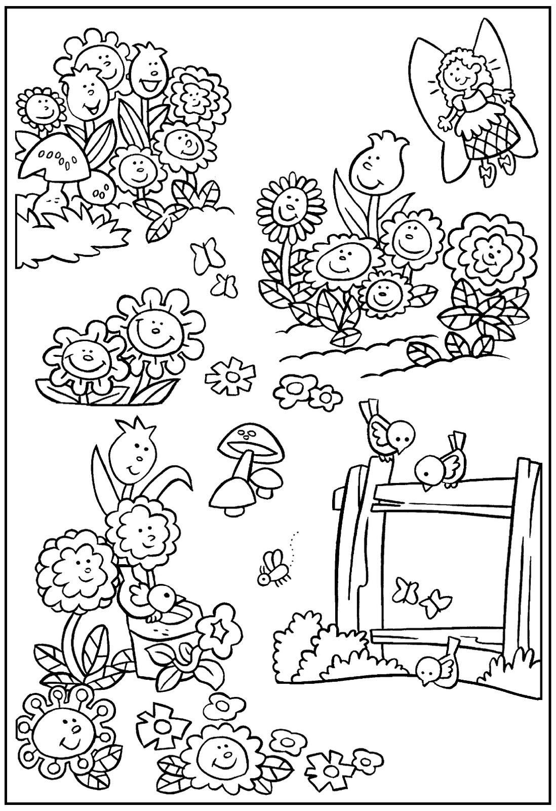 Фея Клумба цветов с феей и птицами Раскраски цветочки  для девочекраскраски цветы