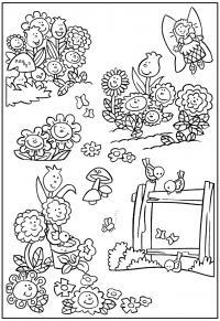 Клумба цветов с феей и птицами Раскраски с цветами распечатать бесплатно