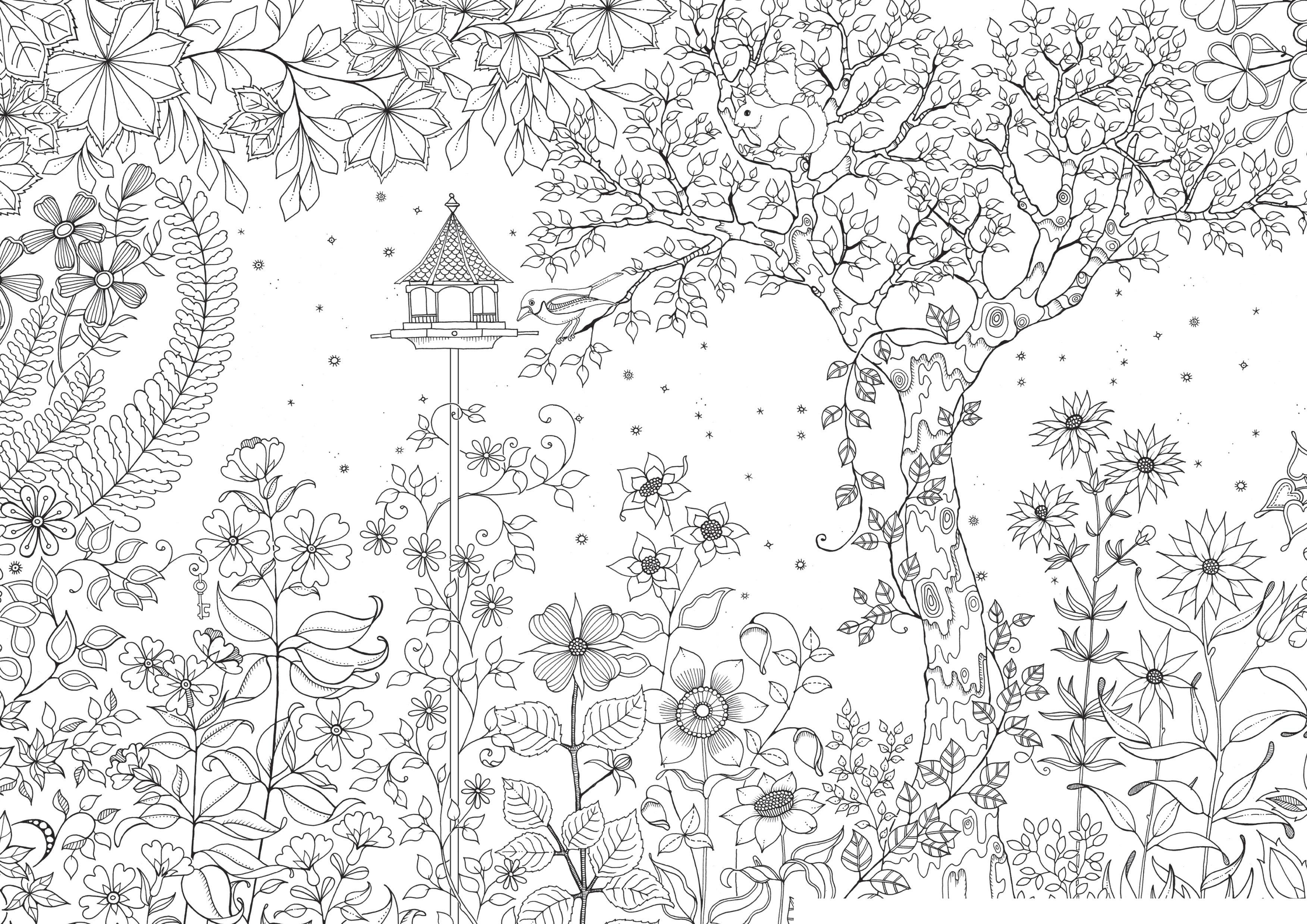 Море цветов возле дерева и маленький домик Красивые раскраски цветов
