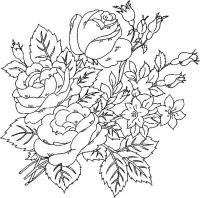 Красивые цветущие розы с бутонами и маленькими цветами Раскраска цветок для скачивания