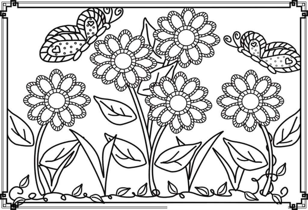 Бабочки над красивыми цветами Скачать раскраски с цветами