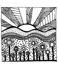 Поле цветов на восходе Раскраски с цветами распечатать бесплатно