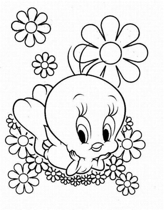 Утенок на клумбе с цветами Красивые раскраски цветов