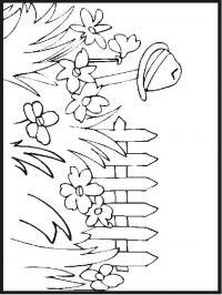 Клумба цветов у забора Красивые раскраски цветов